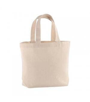 Shopper Borse MANILA Natural in cotone 120 gr con soffietto alla base - Manici corti - 32x24x10 cm.