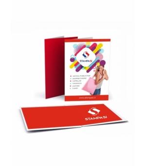 Cartelline portadocumenti a 2 ante formato A5 stampa e plastificazione opaca fronte e retro