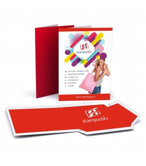 Cartelline portadocumenti con lembi formato A5 stampa e verniciatura lucida fronte e retro