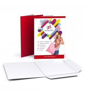 Cartelline portadocumenti con lembi formato A5 stampa e plastificazione opaca solo fronte
