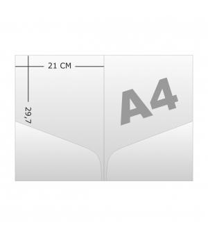 Cartelline portadocumenti formato A4 con 2 tasche preincollate stampa e verniciatura a dispersione opaca fronte e retro