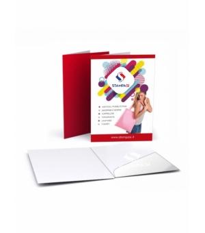 Cartelline portadocumenti formato A4 con tasca preincollata stampa e verniciatura a dispersione opaca fronte e retro