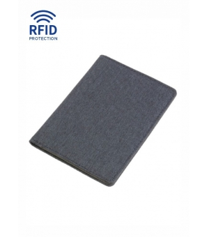 Porta passaporto e carte in tessuto poliestere melange 14,5 x 10,5 cm protezione RFID