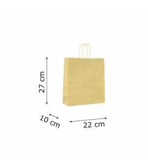Buste con risvolto in carta kraft bianca 120 gr- 22x10x27+5 cm - maniglia ritorta