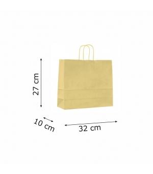 Buste con risvolto in carta kraft bianca 120 gr- 32x10x27+5 cm - maniglia ritorta