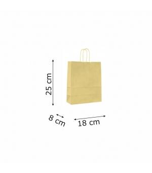 Buste con risvolto in carta kraft bianca 120 gr- 18x8x25+5 cm - maniglia ritorta