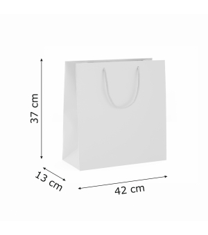 Buste Natural Lux White in carta bianca 130 gr- 42x13x37+6 cm - maniglia in corda
