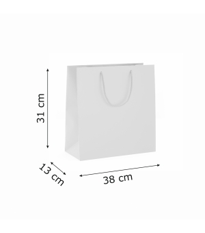 Buste Natural Lux White in carta bianca 130 gr - 38x13x31+6 cm - maniglia in corda