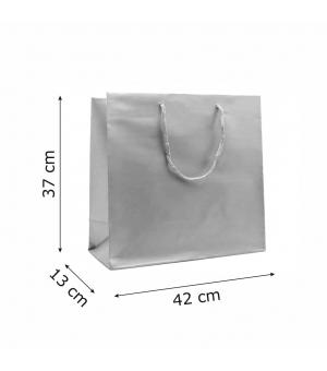 Buste Matt in carta plastificata opaca lusso colorata 160 gr - 42x13x37+6 cm - maniglia in corda