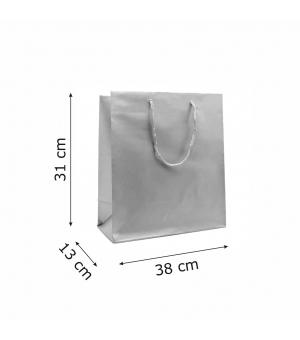 Buste Matt in carta plastificata opaca lusso colorata 160 gr - 38x13x31+6 cm - maniglia in corda