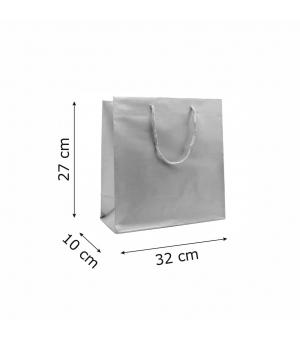 Buste Matt in carta plastificata opaca lusso colorata 160 gr - 32x10x27+5 cm - maniglia in corda