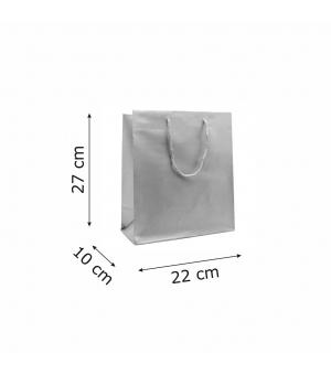Buste Matt in carta plastificata opaca lusso colorata 160 gr - 22x10x27+5 cm - maniglia in corda