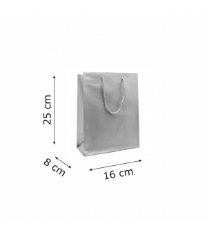 Buste Matt in carta plastificata opaca lusso colorata 160 gr - 16x8x25+5 cm - maniglia in corda
