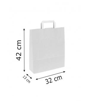 Buste White Bags bianche carta kraft 90 gr - 32x13x42 cm - maniglia piatta