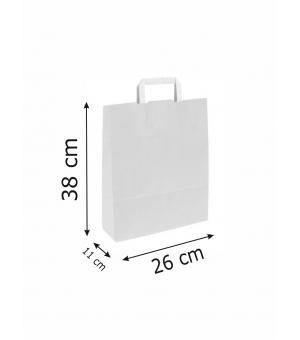 Buste White Bags bianche carta kraft 80 gr - 26x11x38 cm - maniglia piatta