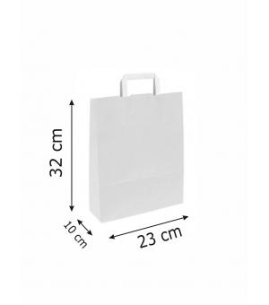 Buste White Bags bianche carta kraft 80 gr - 23x10x32 cm - maniglia piatta