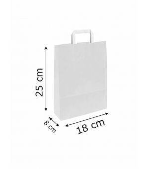 Buste White Bags bianche carta kraft 80 gr - 18x8x25 cm - maniglia piatta