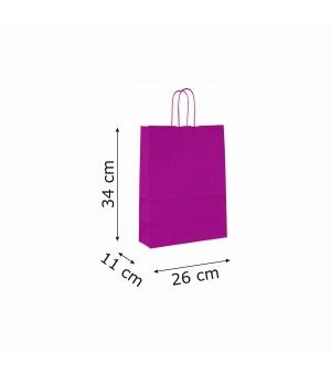 Buste colorate Summer carta kraft 100 gr - 26x11x34 cm - maniglia in corda di carta ritorta
