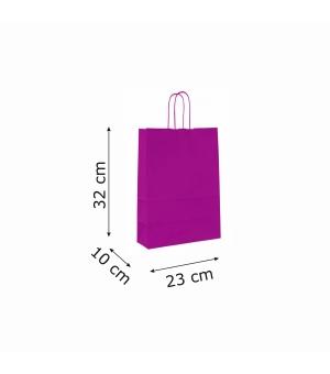 Buste colorate Summer carta kraft 100 gr - 23x10x32 cm - maniglia in corda di carta ritorta