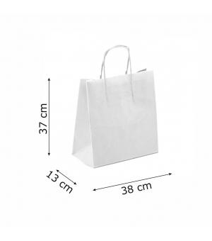 Buste bicolore bianche carta sailing 130 gr - 38x13x37+6 cm - maniglia in corda di carta ritorta