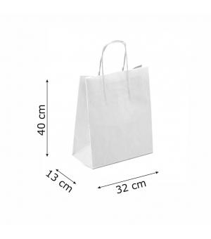Buste bicolore bianche carta sailing 120 gr - 32x13x40+6 cm - maniglia in corda di carta ritorta