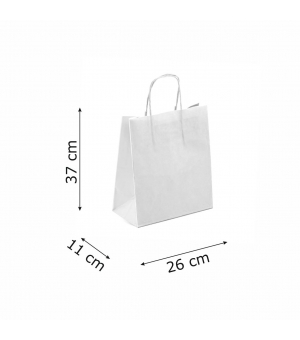 Buste bicolore bianche carta sailing 120 gr - 26x11x37+5 cm - maniglia in corda di carta ritorta