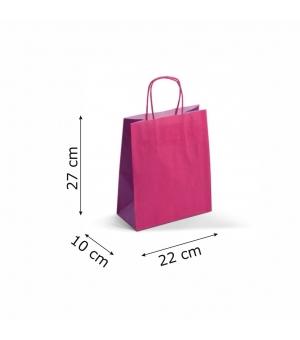 Buste bicolore carta kraft 120 gr - 22x10x27+5 cm - maniglia in corda di carta ritorta
