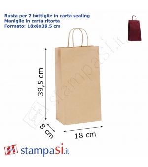 Buste per 2 bottiglie  di carta sailing avana - 120 gr - 18x8x40 cm - maniglia in carta ritorta