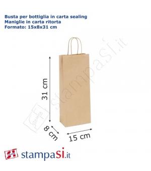 Buste  portabottiglie di carta sailing avana - 120 gr - 15x8x31 cm - maniglia in carta ritorta