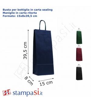 Buste portabottiglie di carta sailing avana - 120 gr - 15x8x39,5 cm - maniglia in carta ritorta