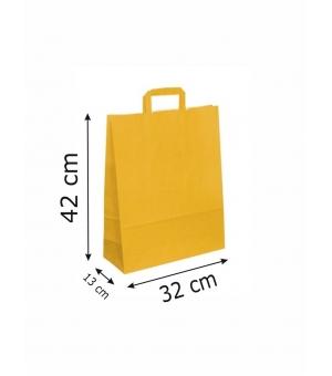 Buste di carta kraft bianca colorata - 100 gr - 32x13x42 cm - maniglia piatta