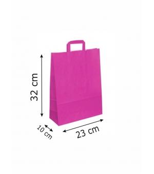 Buste di carta kraft bianca colorata - 100 gr - 23x10x32 cm - maniglia piatta