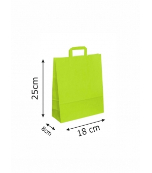 Buste di carta kraft bianca colorata - 80 gr - 18x8x25 cm - maniglia piatta
