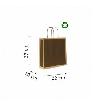 Buste di carta riciclata avana - 120 gr - 22x10x27+5 cm - maniglia ritorta