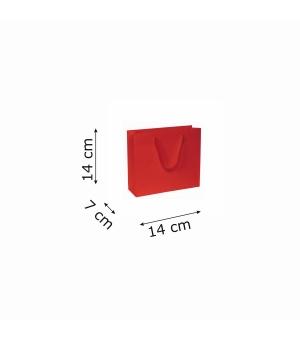 Buste di carta kraft bianca colorata - 170 gr - 14x7x14+4 cm -  maniglia fettuccia