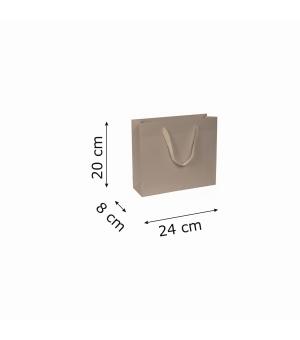Buste di carta kraft bianca colorata - 170 gr - 24x8x20+5 cm -  maniglia fettuccia