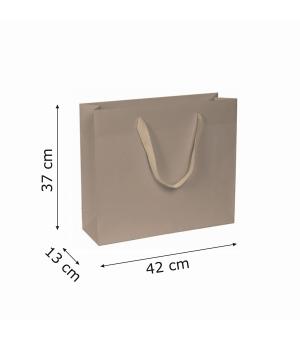 Buste di carta kraft bianca colorata - 170 gr - 42x13x37+6 cm -  maniglia fettuccia