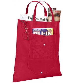 Shopper-Borsa in tnt richiudibile - 80 gr - 39x46 cm. con tasca frontale