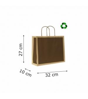 Buste di carta riciclata avana - 120 gr - 32x10x27+5 cm - maniglia ritorta