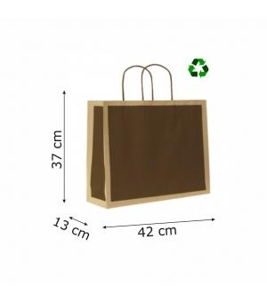 Buste di carta riciclata avana - 120 gr - 42x13x37+6 cm - maniglia ritorta