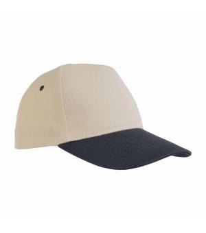 Cappellino in cotone naturale 5 pannelli con visiera colorata