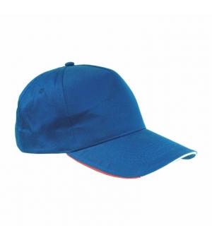 Cappellino in cotone con profilo  e ricamo tricolore