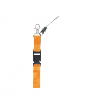 Lanyard in poliestere 20 mm. con clip sganciabile e clip portacellulare