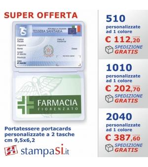 Portatessere portacards personalizzate a 2 tasche cm 9,5x6,2