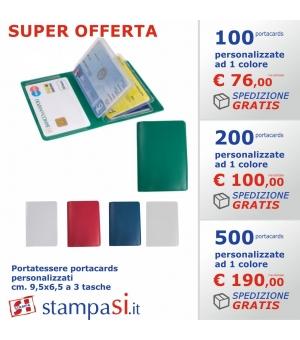 Portatessere portacards personalizzati a 6 tasche cm. 7,5x10,3