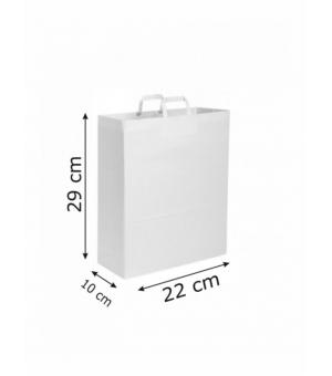 Buste di carta kraft bianca - 90 gr - 22x10x29 cm -  maniglia ritorta