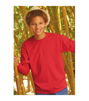 T-shirt bambino manica lunga colorata Fruit of The Loom 100% cotone 165 gr