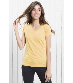 T-shirt donna scollo a V colorata JHK 100% cotone 155 gr