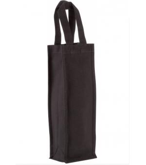 Borsa porta bottiglia in cotone canvas nero 12x36x10 cm