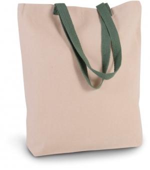 Shopper con soffietto Ki-Mood in tela con manici a contrasto - 38x42x7 - 220 gr